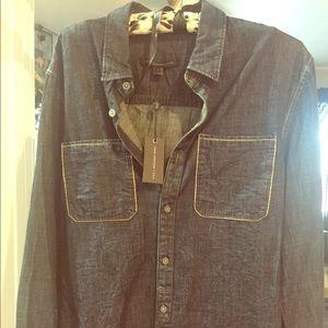 John Varvatos denim button up long sleeve shirt